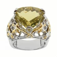 Michael Valitutti Two-tone Oro Verde or Swiss Blue Topaz and White Sapphire Ring