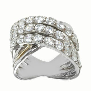 Michael Valitutti Sterling Silver and 14k Yellow Gold Cubic Zirconia Ring