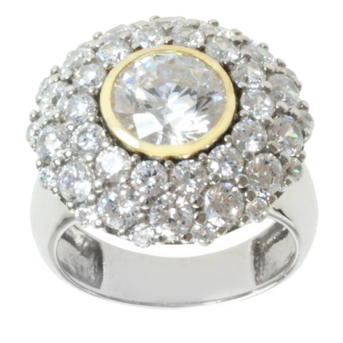 Michael Valitutti Sterling Silver and 14K Yellow Gold Princess-ct Bezel-set Cubic Zirconia Ring