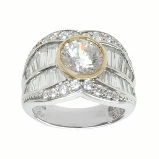 Michael Valitutti Sterling Silver and 14k Yellow Gold Baguette-cut Cubic Zirconia Ring
