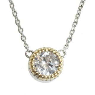 Michael Valitutti 14k Yellow Gold and Sterling Silver and Cubic Zirconia Necklace