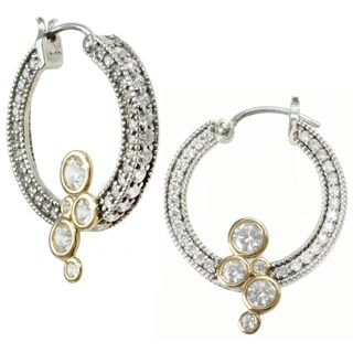 Michael Valitutti Sterling Silver and 14k Yellow Gold Cubic Zirconia Earrings