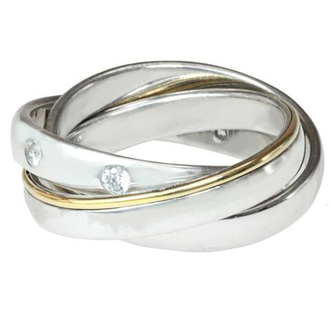 Michael Valitutti Palladium-plated Silver and 14k Yellow Gold Cubic Zirconia Rolling Ring