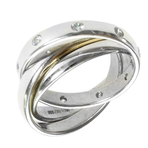 14k Yellow Gold Plated Bezel Sterling Silver CZ Eternity Ring Size 2-9.5