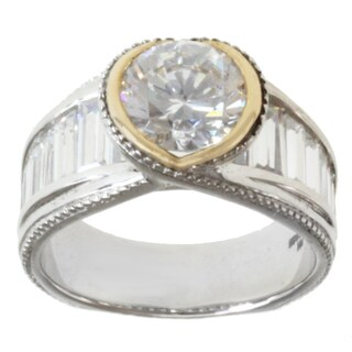 Michael Valitutti 14k Yellow Gold and Sterling Silver Baguette and Round-cut Cubic Zirconia Ring