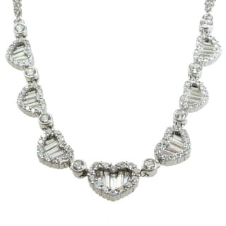 Michael Valitutti Sterling Silver Cubic Zirconia Heart Necklace