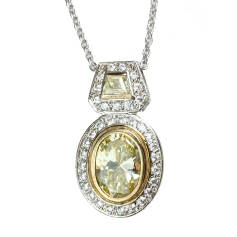 Gems en Vogue Two-tone Yellow and White Oval-cut Cubic Zirconia Necklace