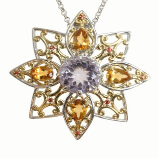 Michael Valitutti Two-tone Pink Amethyst, Citrine and Orange Sapphire Necklace