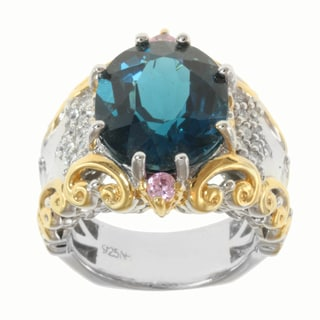 Michael Valitutti Two-tone London Blue Topaz and Pink/White Sapphire Ring