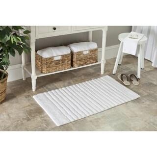 Safavieh White / White Channel Stripe 27 x 45 Bath Rug (Set of 2)
