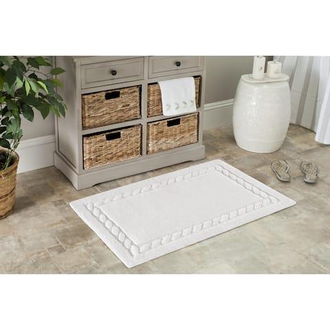 Safavieh White Cable Plush Bath Mat (21 x 34) (Set of 2) - 21 x 34