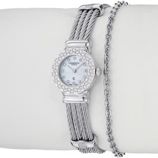 Charriol Women's 'St Tropez' Diamond Dial Stainless Steel Quartz Watch|https://ak1.ostkcdn.com/images/products/8315773/8315773/Charriol-Womens-St-Tropez-Diamond-Dial-Stainless-Steel-Quartz-Watch-P15630591.jpg?impolicy=medium