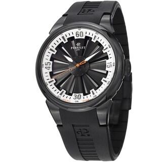 Perrelet Men's 'Turbine' Black/Silver Dial Rubber Strap Watch