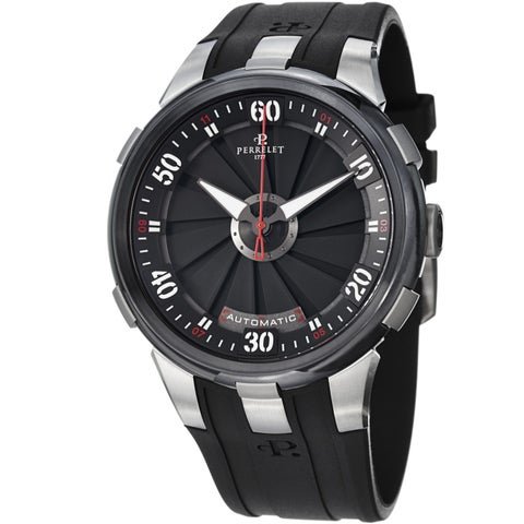 Perrelet Men's 'Turbine XL' Black Dial Black Rubber Strap Watch