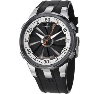Perrelet Men's 'Turbine XL' Black/Silver Dial Black Rubber Strap Watch