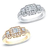 Auriya 14k Gold 3/4ct TDW Vintage 3-stone Diamond Halo Engagement Ring