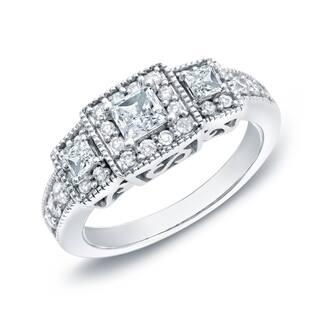 Auriya Vintage 3/4ctw Princess Cut 3-Stone Halo Diamond Engagement Ring 14k Gold