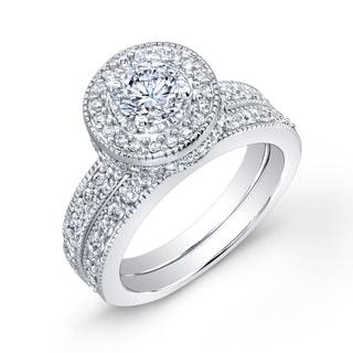 Auriya 14k White Gold 2ct TDW Certified Diamond Bridal Ring Set