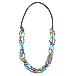Handmade Turquoise, Tourmaline and Amethyst Endless Necklace (USA)