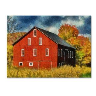 Lois Bryan 'Red Barn In Autumn' Canvas Art