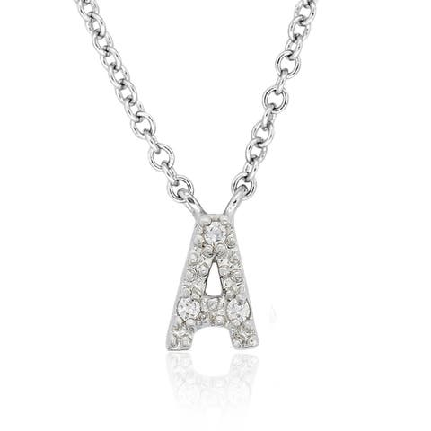 Molly and Emma Sterling Silver Children's CZ A to Z Option Initial Necklace