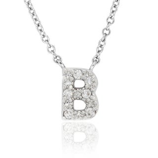 Molly and Emma Sterling Silver Children's CZ A to Z Option Initial Necklace (More options available)