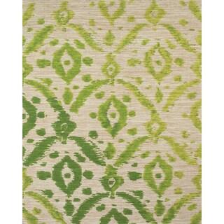 "Grand Bazaar Hand-Woven Jute Serra Rug in Ikat Green 2'6 x 8' - 2'6"" x 8'"