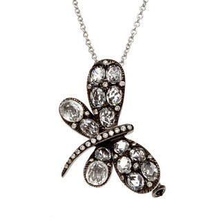 Kabella Luxe 14k Gold White Sapphire and 1/8ct TDW Diamond Dragonfly Bug Critter Necklace (H-I, SI1-SI2)