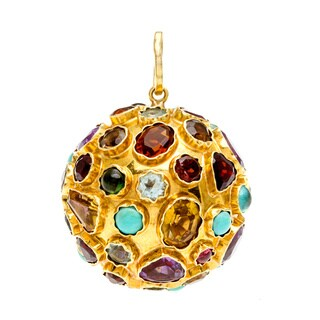 Pre-owned 14k Yellow Gold Multi-gemstone Giant Charm Pendant