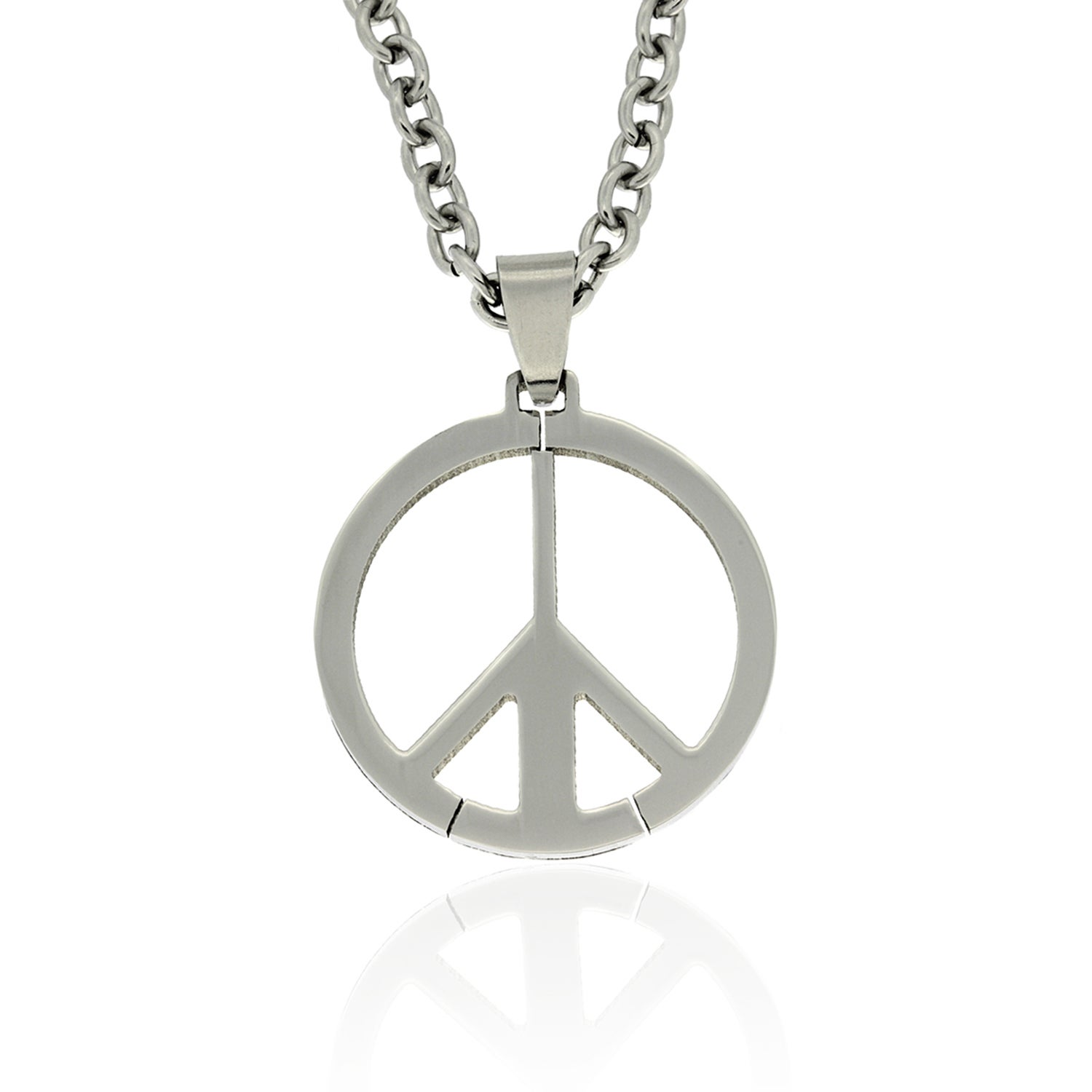 Gravity Stainless Steel Men's Peace Sign Necklace, Size: ...