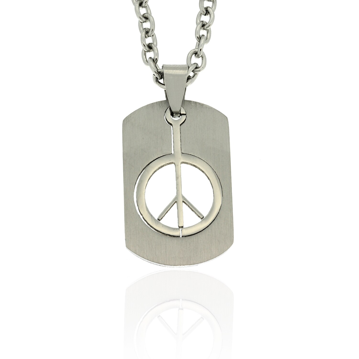 Gravity Stainless Steel Cutout Peace Sign Dog Tag Necklac...