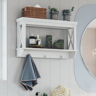 RiverRidge Home X Frame Bathroom Wall Shelf