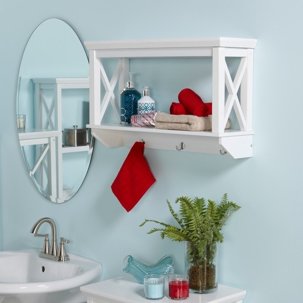 Riverridge Home X Frame Bathroom Wall Shelf Free