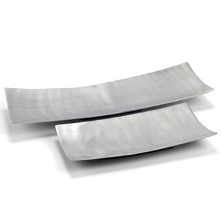 Brushed Aluminum Long Trays (Set of 2)