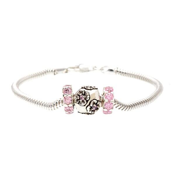 Sterling Silver Pink Cubic Zirconia Flower Bead Bracelet