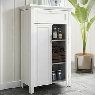 Bathroom cabinets storage for less for Blue washed kitchen cabinets