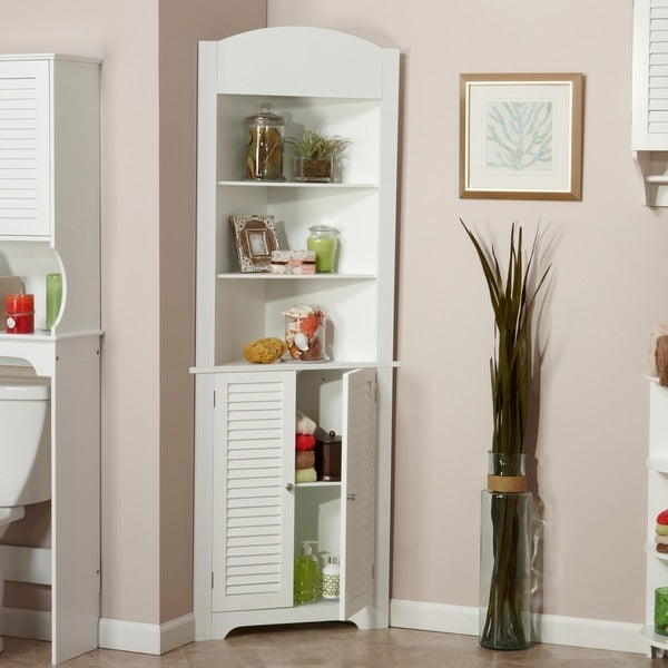 Riverridge home ellsworth tall corner etagere free for Bathroom storage ideas b q