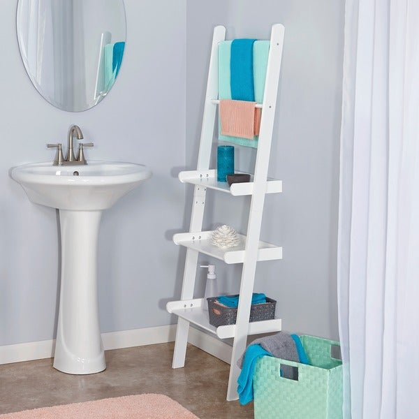 Superb Shop Riverridge Ladder Shelf With Towel Bars Free Shipping Interior Design Ideas Clesiryabchikinfo