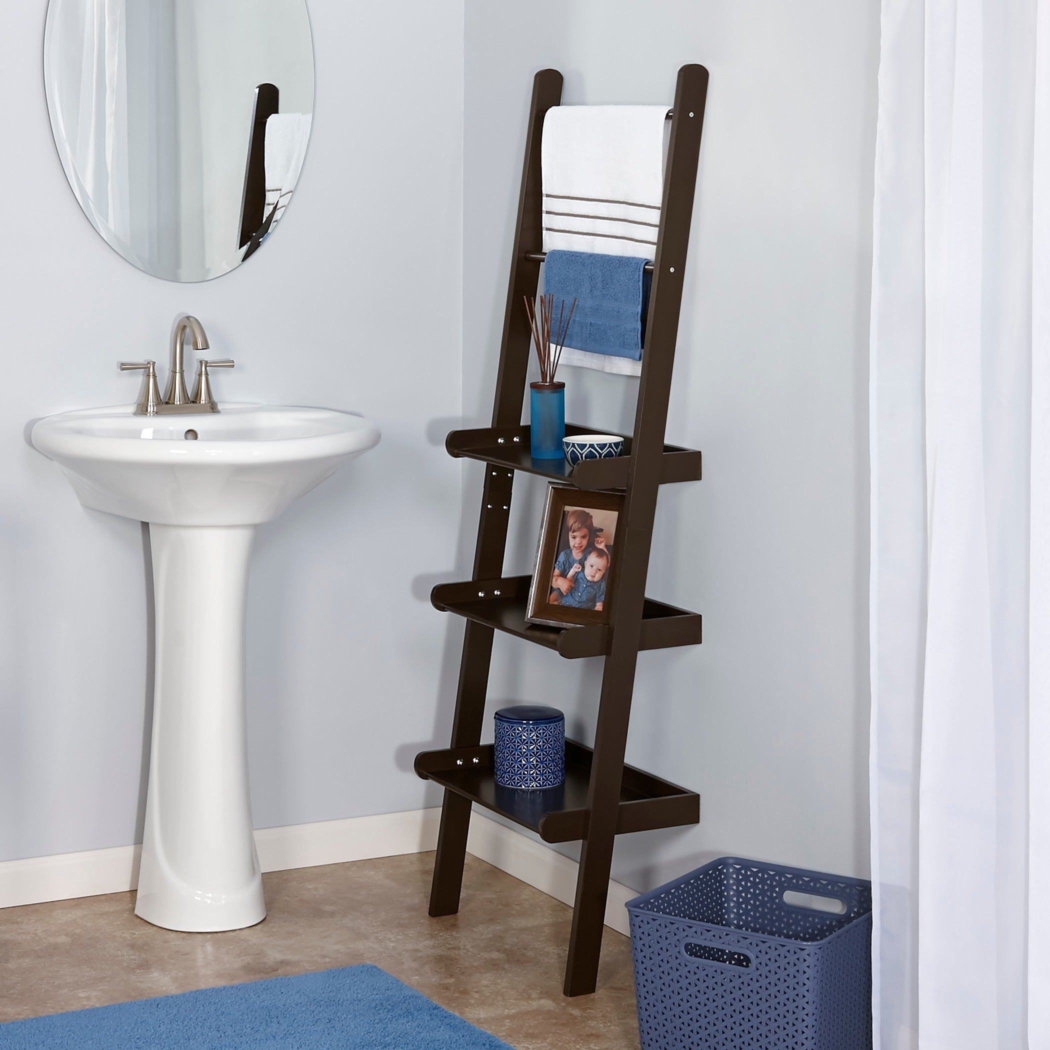 RiverRidge Home Ladder Shelf with Towel Bars (Espresso), ...