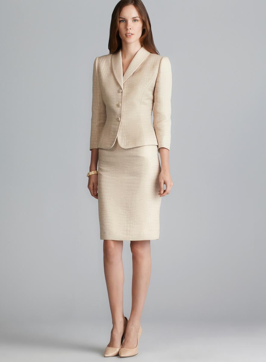 Furniture Blowout Sale Tahari Three Button Snakeskin Brocade Skirt Suit - Free ...