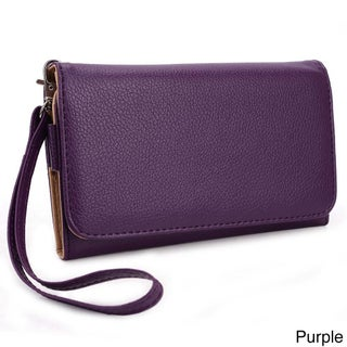 "Kroo Clutch Wallet with Wristlet for Smartphones up to 6"" (Option: Purple)"