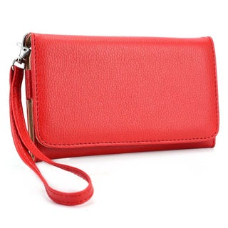 "Kroo Clutch Wallet with Wristlet for Smartphones up to 6"" (Option: Red)"