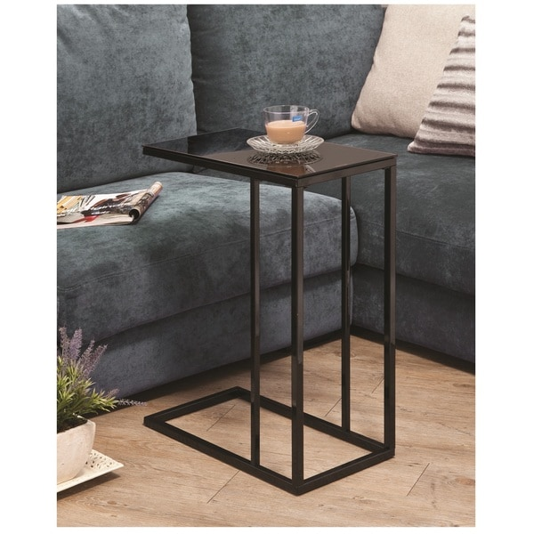 Shop Black Glass Side End Snack Table Free Shipping