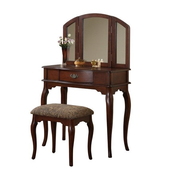 3-piece Queen Anne Make Up Vanity Table with Stool and Mirror ...
