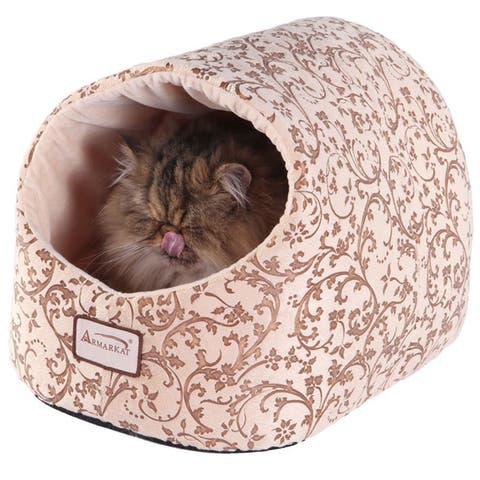 Armarkat Velvet Floral Pattern Cat Bed - Small