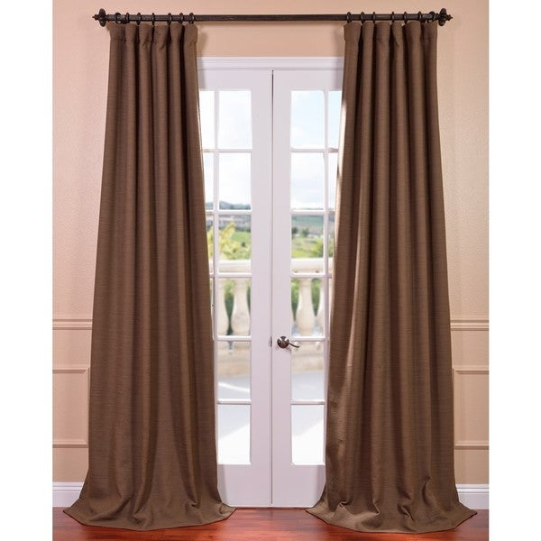 3 Piece Faux Cotton Espresso Brown Kitchen Window Curtain: Exclusive Fabrics Turkish Coffee Bellino Blackout Curtain