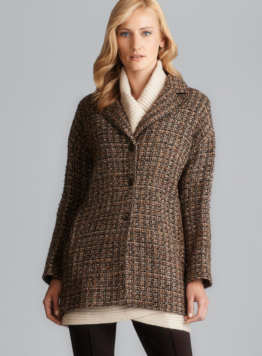 Sinequanone Brown Boucle Tweed Coat - Free Shipping Today ...
