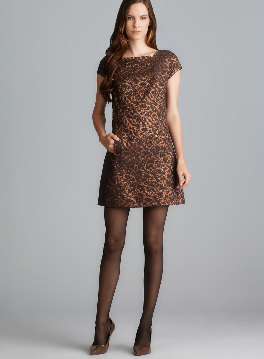 2ebf7bd015f2a Sinequanone Cap Sleeve Two Pocket Metallic Print Dress