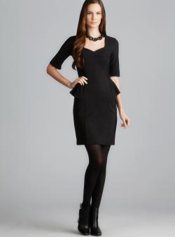 Sinequanone V-Neck 3/4-Sleeve Peplum Dress