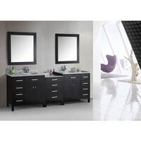 Design Element London Collection Espresso 92-inch Double Sink Vanity Set